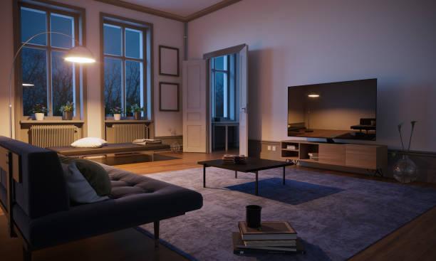 Scandinavian style and minimalist designed living room interior scene in the evening. ( 3d render )