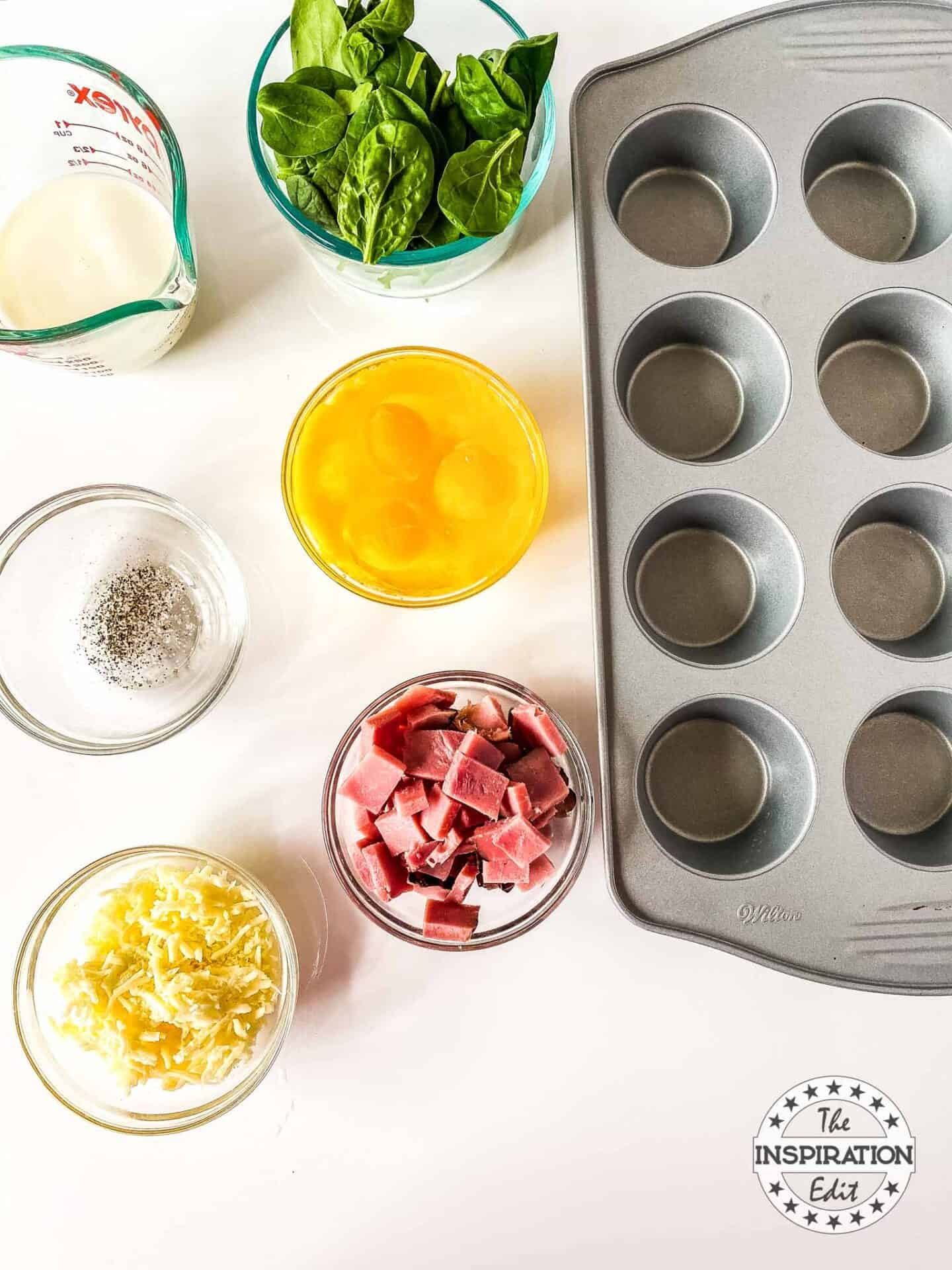 ingredients to make spinach egg muffins